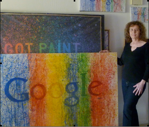 "Google III aka Got Paint 259, 48x68"" oil on canvas with the artist, January 27, 2015. (Paintings in the background are from the Art with Words series.)"